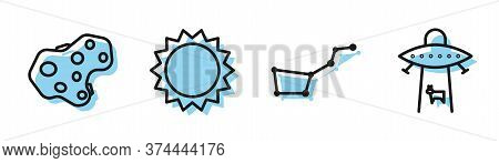 Set Line Great Bear Constellation, Asteroid, Sun And Planet Icon. Vector