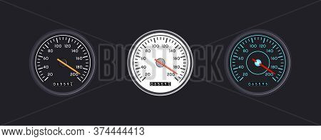Set Of Three Vector Isolated Speedometers For Dashboard. Circular Gauge With Arrow Or Pointer For Ve