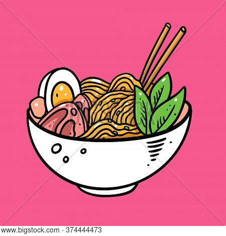 Japanese Ramen. Hand Drawn Colorful Vector Illustration. Isolated On Soft Pink Background.