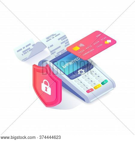 Contactless Payment Via Credit Card Isometric Concept. 3d Payment Machine Printing Check, Plastic De