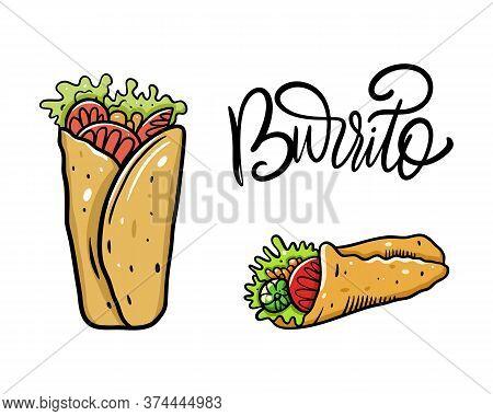 Burrito Set. Cartoon Vector Illustration. Isolated On White Background.