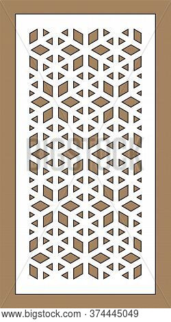Laser Cutting Vector Template. Arabesque Vector Panel, Screen, Fence. Cnc Sheet For Interior Partiti