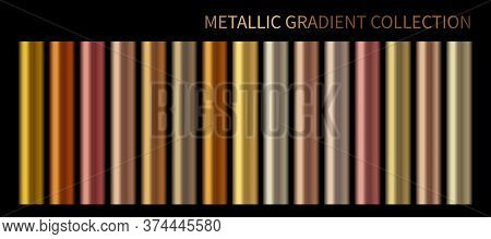 Metallic, Bronze, Silver, Gold, Chrome, Copper Metal Foil Texture Gradient Template Vector