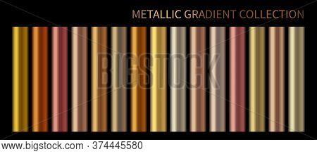 Metallic, Bronze, Silver, Gold, Chrome, Copper Metal Foil Texture Gradient Template Vector