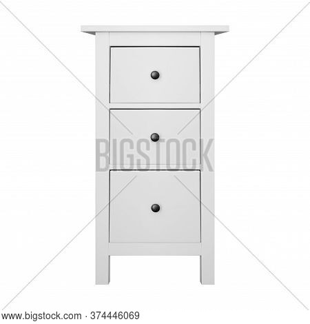 House Furniture - Modern Narrow Commode Isolated White Background.