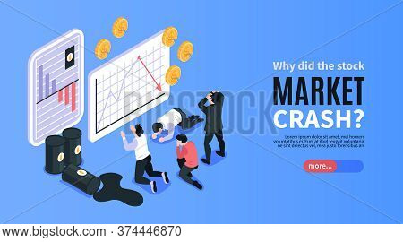 Financial Crisis And Stock Market Crash Isometric Banner With Depressed People Looking At Oil Prices