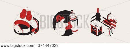 Boxing Isometric Compositions With Gloves  Punching Bags For Training Boxing Mouth Guard Elements Ve