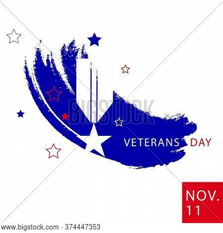 Usa Veterans Day Minimalist Abstract Style Poster. Vector Illustration.