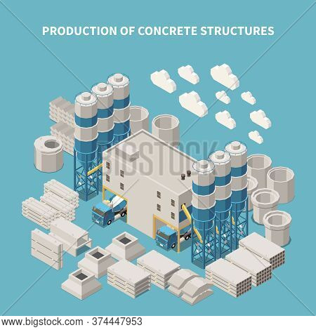 Isometric And Colored Concrete Cement Production Composition With Production Of Concrete Structures