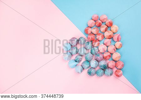 Soft Pink And Blue Color Mini Marshmallows Dessert Heart Shaped Top View, Flat Lay Style. Concept Fo