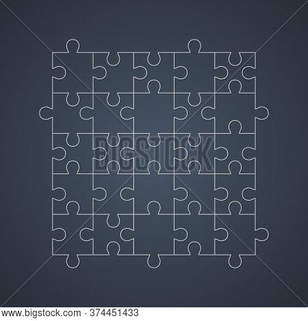 Outline Puzzle Net Isolated On Dark Background. Jigsaw Cutting Scheme Square Template. Puzzle Pieces