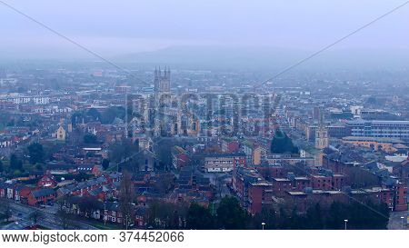 City Of Gloucester And Gloucester Cathedral In England - Aerial View -aerial Photography