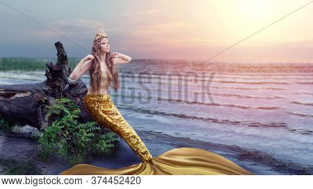 Fantasy Woman Real Mermaid Myth Goddess Of Sea.