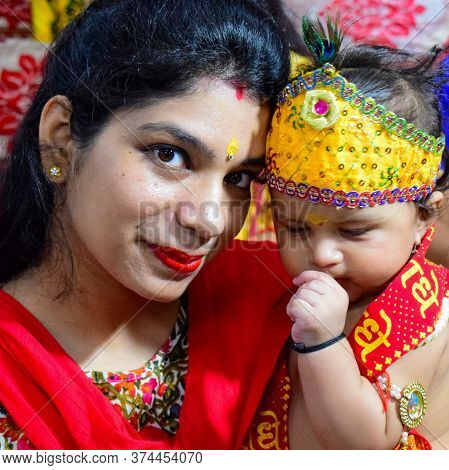 Delhi, India - September 9, 2019 : Cute Indian Kids Dressed Up As Little Lord Krishna Radha On The O