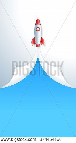 Business Start Up Concept Space Rocket Take Off Vertical Story Template. Rocket Spacecraft Launching