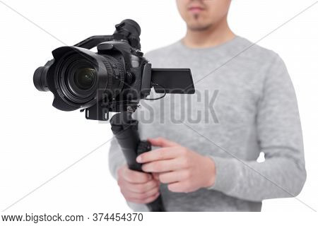 Close Up Of Modern Dslr Camera On 3-axis Gimbal Stabilizer In Videographer Hands Isolated On White B