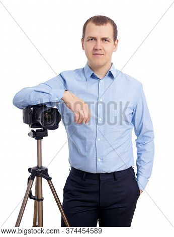 Male Photographer Or Videographer Posing With Modern Dslr Camera On Tripod Isolated On White Backgro