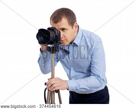 Male Photographer Or Videographer Taking Photo Or Shooting Video With Modern Dslr Camera On Tripod I