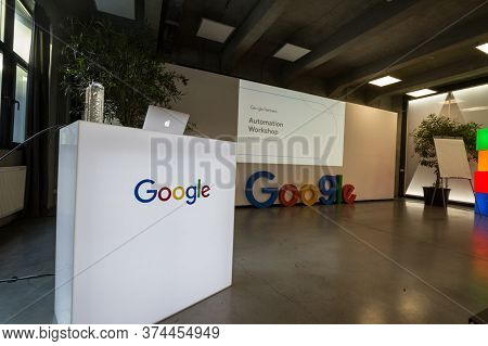 Bucharest, Romania - February 12, 2020: Google Partners Logo In Front Of A Stand Promoting Google Ad