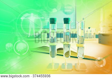Scientific College Texture Or Background - Proofs And Microscope In Clinic - Colorful Conceptual Med