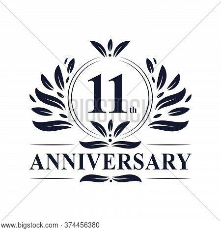 11th Anniversary Celebration, Luxurious 11 Years Anniversary Logo Design.