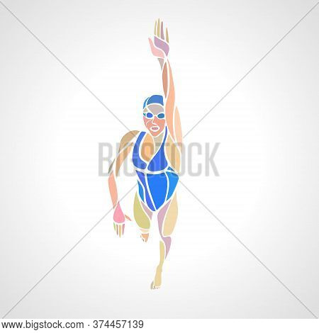 Freestyle Woman Swimmer Silhouette. Sport Swimming Vector