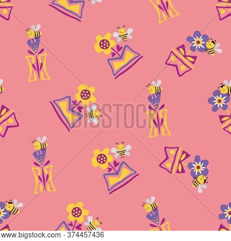 Kawaii Honey Bee With Daffodils And Forget-me-not Flowers In In Aztec Motif Vase. Seamless Vector Pa