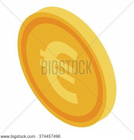 Euro Fake Coin Icon. Isometric Of Euro Fake Coin Vector Icon For Web Design Isolated On White Backgr