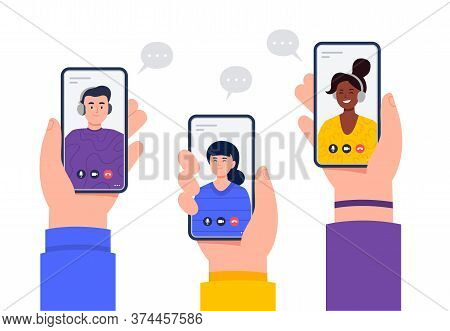 Hands Hold Smartphones With Video Calls. Happy Women And Men Meeting In Video Chats. Video Conferenc
