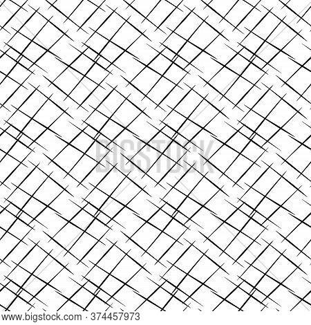 Vector Hand Drawn Diagonal Scribbled Grunge Lines In Criss Cross Design. Seamless Texture Weave Patt