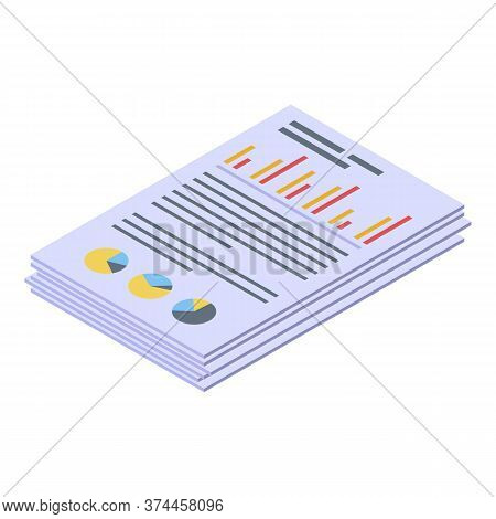 Reporter Statistic Papers Icon. Isometric Of Reporter Statistic Papers Vector Icon For Web Design Is