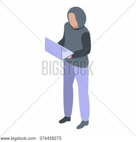 Hacker Online Fraud Icon. Isometric Of Hacker Online Fraud Vector Icon For Web Design Isolated On Wh