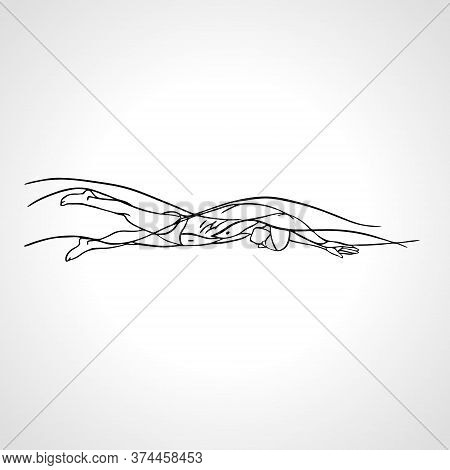 Freestyle Swimmer Silhouette. Sport Pro Swimming Vector Sketch