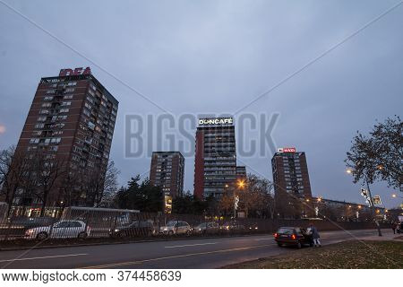 Belgrade, Serbia - December 30, 2018: High Rise Buildings From The District Of Blok 21 In Novi Beogr