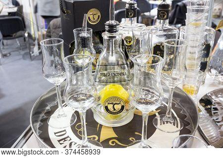 Belgrade, Serbia - February 24, 2019: Viljamovka Rakija On Display With A Bottle And Glasses In Belg