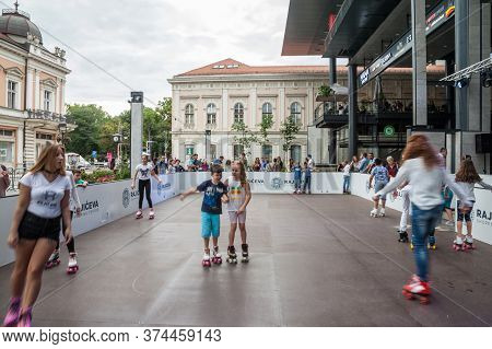 Belgrade, Serbia - June 24, 2018: Roller Skating Rink With Young People Practising Roller Skate Outd