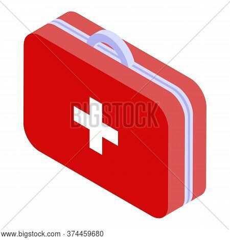 Red First Aid Kit Icon. Isometric Of Red First Aid Kit Vector Icon For Web Design Isolated On White