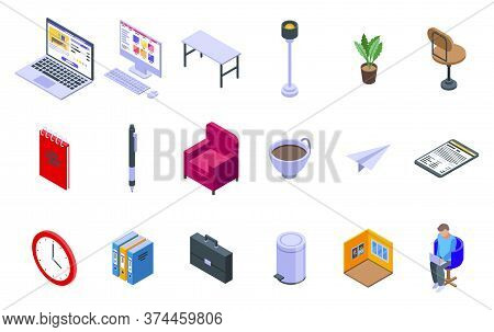 Home Office Icons Set. Isometric Set Of Home Office Vector Icons For Web Design Isolated On White Ba