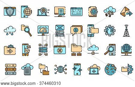 Hosting Icons Set. Outline Set Of Hosting Vector Icons Thin Line Color Flat On White