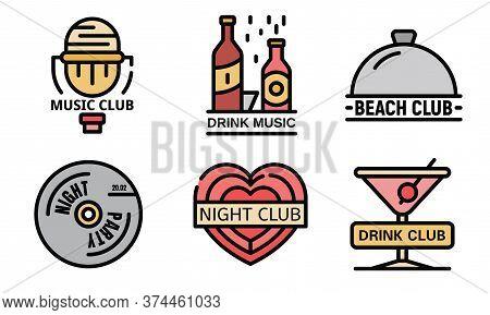 Nightclub Logo Set. Outline Set Of Nightclub Vector Logo Thin Line Color Flat On White