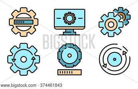 System Update Icons Set. Outline Set Of System Update Vector Icons Thin Line Color Flat On White