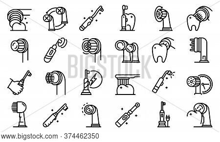Electric Toothbrush Icons Set. Outline Set Of Electric Toothbrush Vector Icons For Web Design Isolat