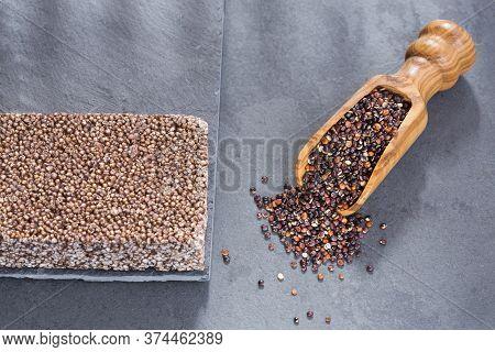 Black Seeds Of Quinoa. Quinoa Cereal Bar - Chenopodium Quinoa