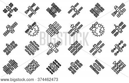 Space Station Icons Set. Outline Set Of Space Station Vector Icons For Web Design Isolated On White