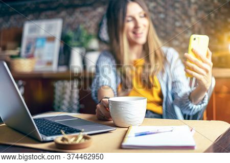 Distance Learning Online Education And Work. Business Woman Having A Facetime Video Call. Happy And