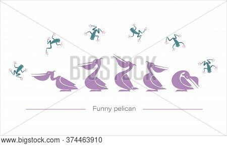 Tropical Frogs, Pelicans Silhouettes. Vector Isolated Character. Funny Pink Birds Play With Frogs.