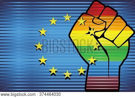 Shiny Lgbt Protest Fist On A European Union Flag - Illustration,  Abstract Grunge European Union Fla