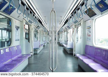 Bangkok, Thailand - 26 August 2019: Mrt Purple Line Between Tao-poon To Khlong-bang-phai.metropolita
