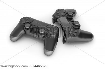 Two Black Gamepads Isolated On White Background 3d Rendering