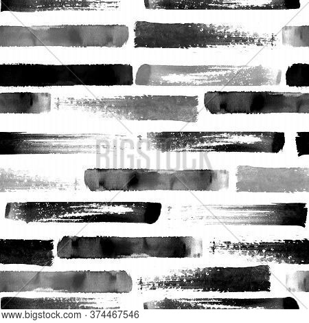 Abstract Grunge Cross Geometric Shapes Contemporary Art Black And White Seamless Pattern Background.